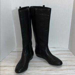 Size 8 Anne Klein Black Creda Leather Boots